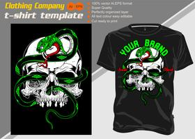 T-shirt template, fully editable with skull snake vector