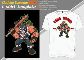 T-shirt template, fully editable with skull mask vector