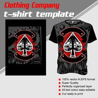 T-shirt template, fully editable with skull ace scoop vector