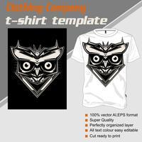 coruja do molde da camisa de t .isolated e fácil editar. Ilustração vetorial - vetor