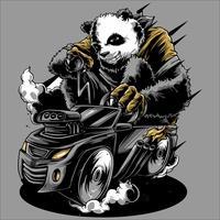 panda ride the car hand drawing vector