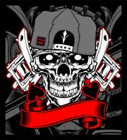 skull wearing cap with tattoo machine vector