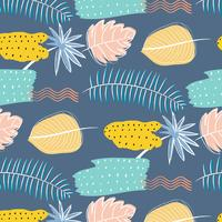 Hand Drawn Textures Abstract Floral Pattern Background. Vector Illustration.