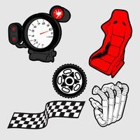 Ilustración vectorial de un conjunto de piezas de coche