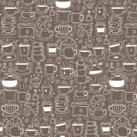 Pattern With Line Hand Drawn Doodle Coffee Background. Doodle Funny. Handmade Vector Illustration.
