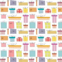 Pattern With Hand Drawn Gift Box. Background Illustrations For Gift Wrap Design.