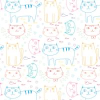 Hand Drawn Cats Vector Pattern Background. Doodle Funny. Handmade Vector Illustration.