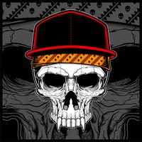 skull wearing cap and bandana vector