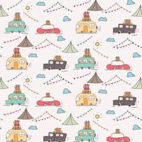 Camping Car Vector Pattern.