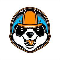 vector de dibujo de mano panda cabeza usando casco