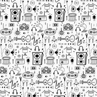 Pattern With Line Hand Drawn Doodle Music Background. Doodle Funny. Handmade Vector Illustration.