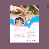 Colorful pets supplies business brochure template - Vector Illustration