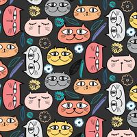 Cute Cat And Floral Pattern Background. Vector Illustration.
