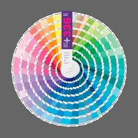 Circular illustration of color palette guide for print, guide book for designer, photographer and artists