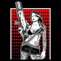 women mafia bandit gangster handling gun vector