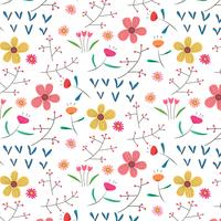 Hand Drawn Floral Pattern Background. Vector Illustration.