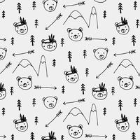 Hand Drawn Cute Bear Tribal Pattern Background. Vector Illustration.