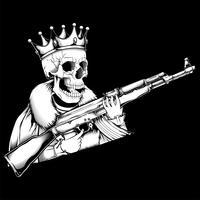Schädel König Umgang mit Pistole Vektor