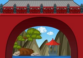 Chinesischer Themahintergrund mit Wand und Pavillion