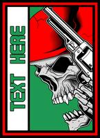 skull with gun vector