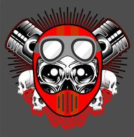 Vintage motorcycle print with skull in motorcycle helmet and crossed pistons vector