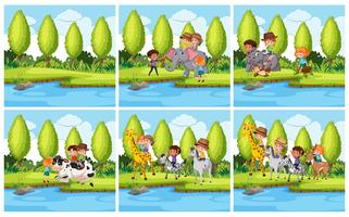 Set of children and animal in nature landscape