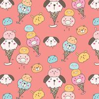 Cute Animal Ice Cream Pattern Background. Hand Drawn Vector Illustration.