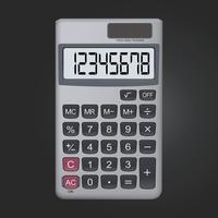 8 cijferig realistisch calculatorpictogram dat op zwarte achtergrond wordt geïsoleerd