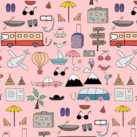 Hand Drawn Doodle Vector Travel Pattern Background. Vector Illustration.