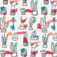 Hand gezeichnetes tropisches Kaktus-Muster. Handgemachte Vektor-Illustration.