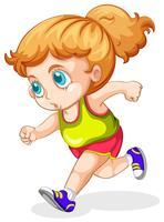 menina loira isolada correndo vetor
