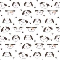 Hand Drawn Cute Dogs de fond. Illustration vectorielle