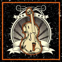 grunge style The Classical Music Concept Violin Vector Illustration - Vector