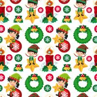 Seamless background design with christmas elf