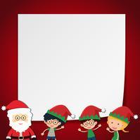 Modello di confine con bambini e Babbo Natale