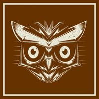 grunge stylevector owl bird heads showing different species and plumage, vector isolated