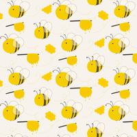 Cute Bee Pattern Background. Vector Illustration.