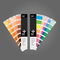 Ilustração do guia de duas paletas de cores para o livro guia de impressão para o fotógrafo designer e artistas