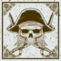 grunge style pirate skull and sword crossed vector illustration