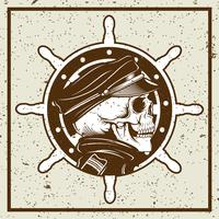 grunge style skulls captain and ship's wheel vintage illustration vector