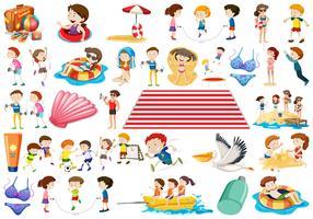 Conjunto de niños de verano
