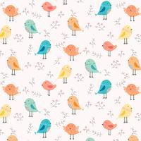 Hand gezeichneter netter Vogel und Blumenmuster-Hintergrund. Vektor-Illustration.
