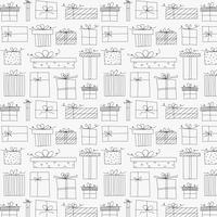 Pattern With Hand Drawn Gift Box. Background Illustrations For Gift Wrap Design. vector