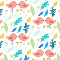 Hand Drawn Floral And Cute Bird Pattern Background. Vector Illustration.