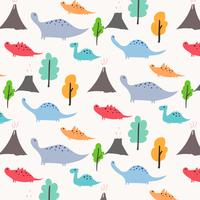 Dinosaur Vector Pattern Background. Vector Illustration.