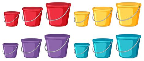 Set of bucket different color and size vector