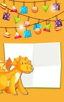 Yellow dinosaur celebration invitaion vector