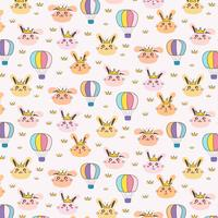Princess Bunny Pattern Background For Kids. Illustrazione vettoriale
