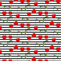 Hand Drawn Cherry Pattern Vector Illustration Background.