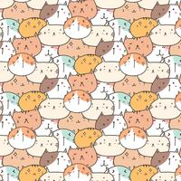 Cute Cats Vector Pattern Background. Fun Doodle. Handmade Vector Illustration.